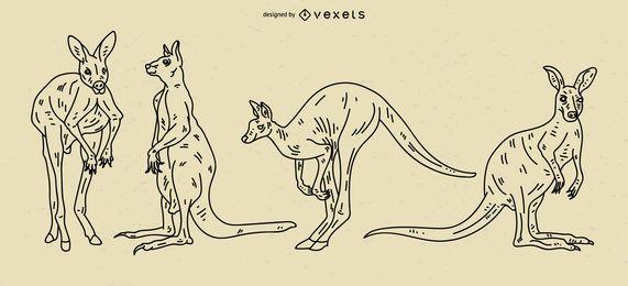 Conjunto de ilustración de trazo de canguro