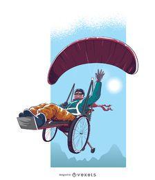 Diseño de ilustración de parapente para discapacitados