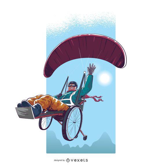 Handicapped Paragliding Illustration Design