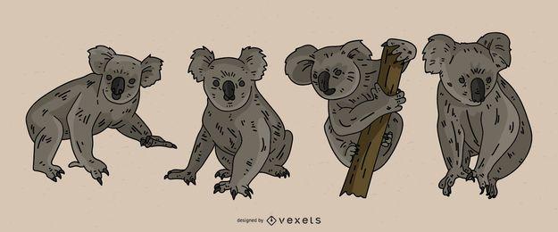 Conjunto de ilustração colorida de coala