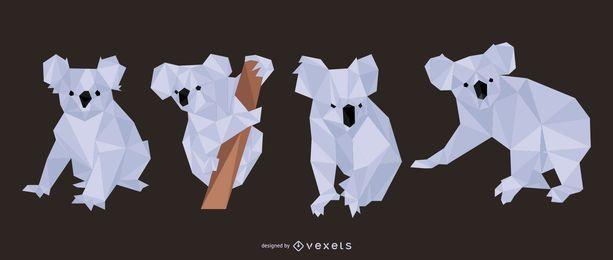 Conjunto de Koala poligonal