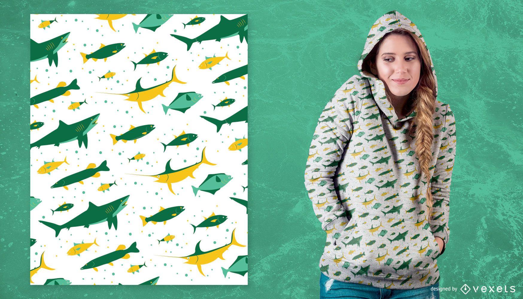 Diseño de patrón de peces de pesca