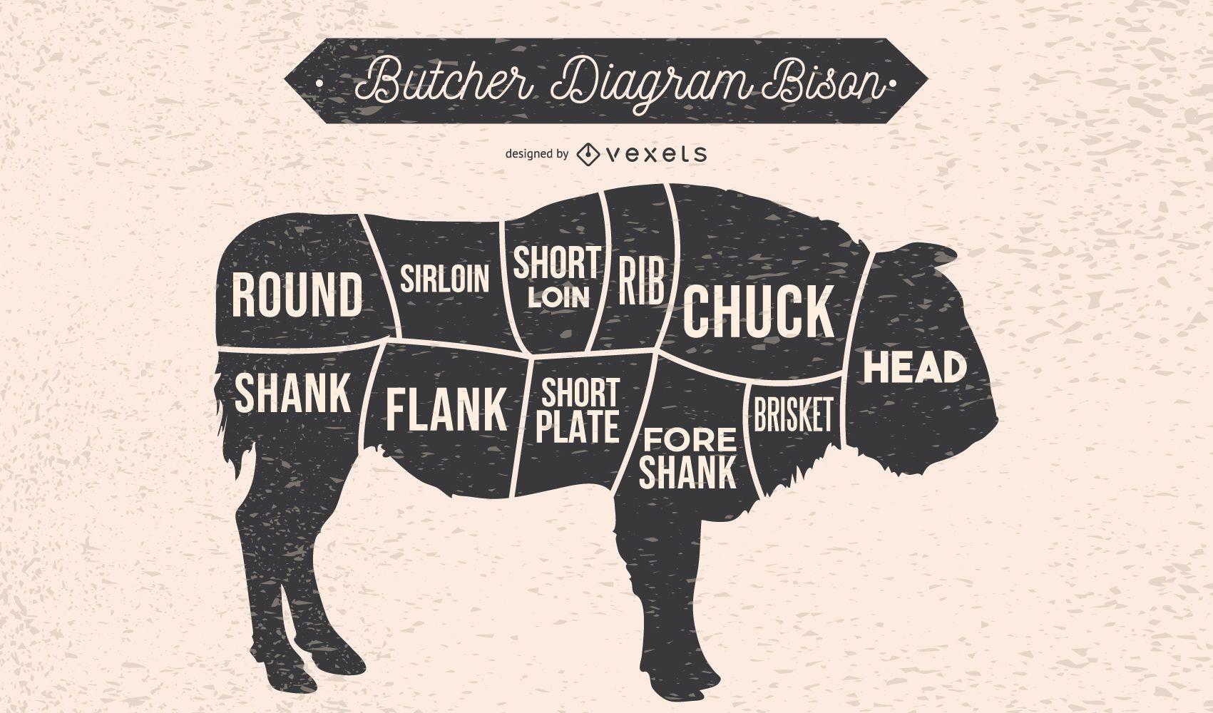 Butcher Diagram Bison Illustration