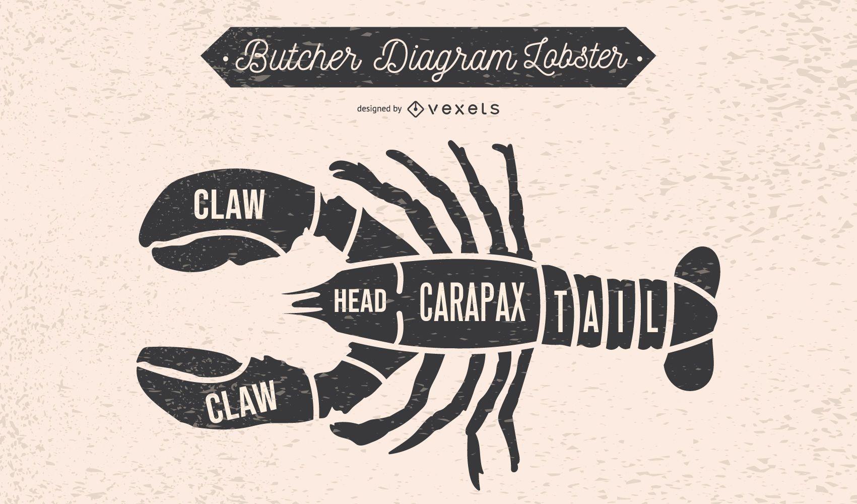 Lobster Butcher Diagram Design