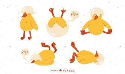 Cute chicken illustration set