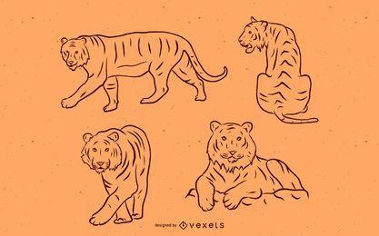 Conjunto de traços de tigre