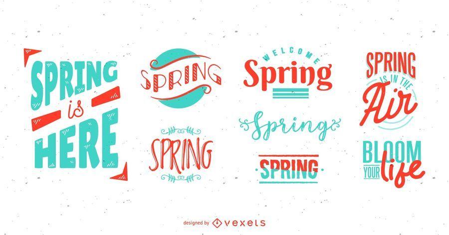 Spring Season Lettering Set