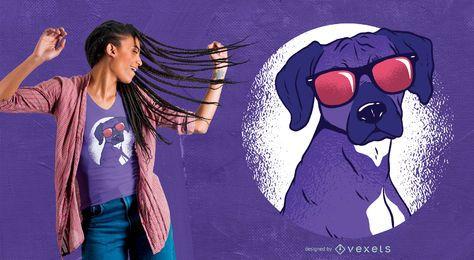 Diseño fresco de la camiseta del perro sombrío