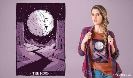 Diseño de camiseta Moon Tarot Card