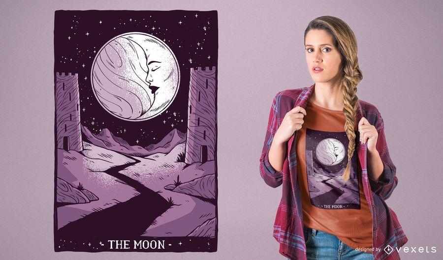 Projeto do t-shirt do cartão de Tarot da lua