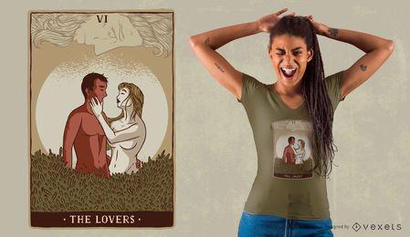 Diseño de camiseta de los amantes de la carta de tarot