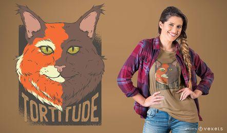 Diseño de camiseta de gato tortuga
