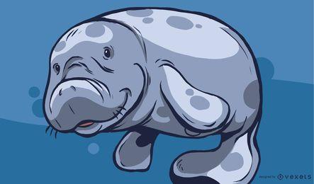 Projeto bonito da ilustração do peixe-boi