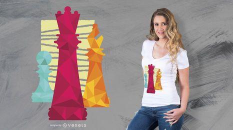 Diseño de camiseta de piezas de ajedrez.