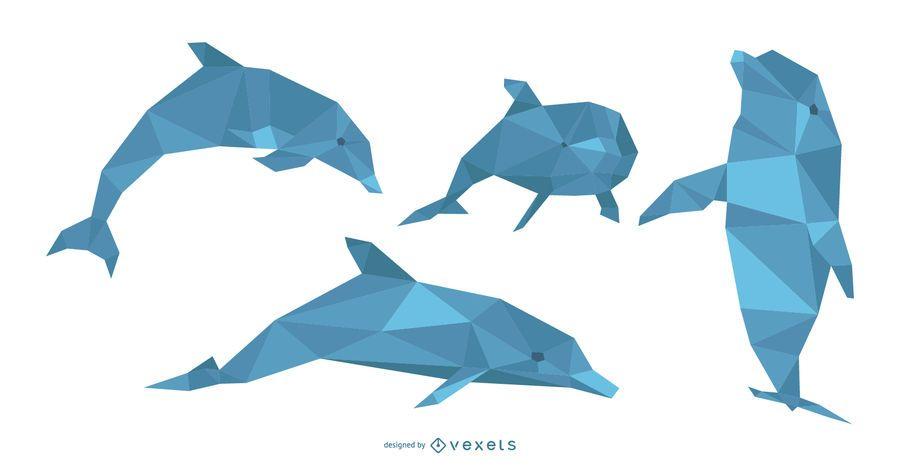Conjunto poligonal de ilustración de delfines