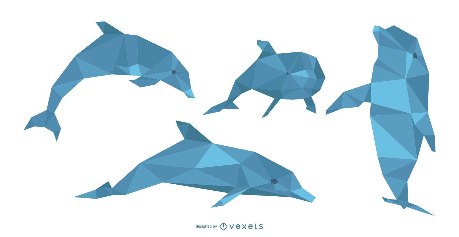 Polygonal Dolphin Illustration Set