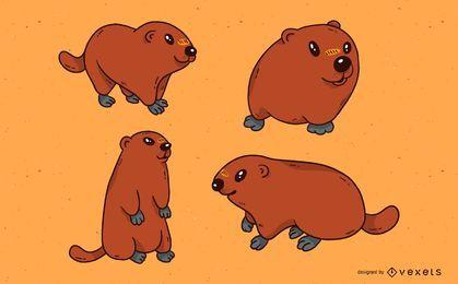 Conjunto de ilustração de marmota fofa