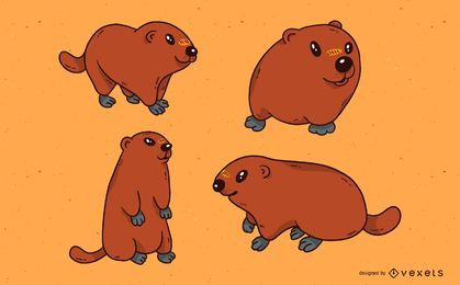 Cute groundhog illustration set