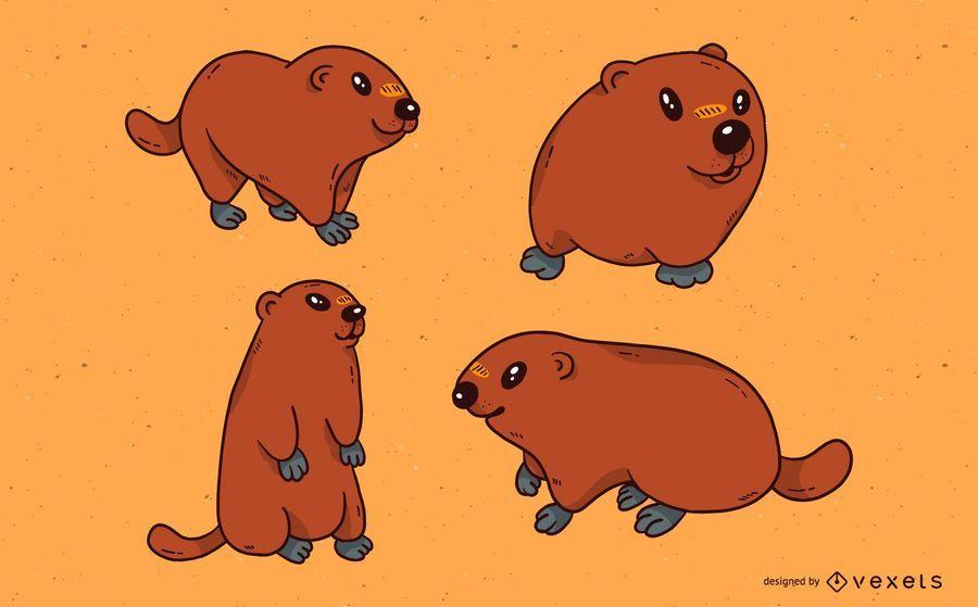 Cute groundhog illustration set