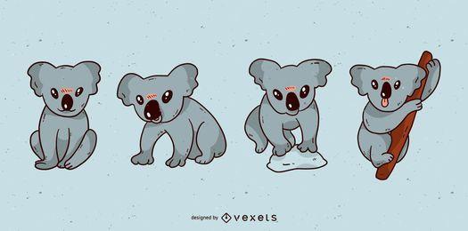 Conjunto de desenhos animados fofo koala