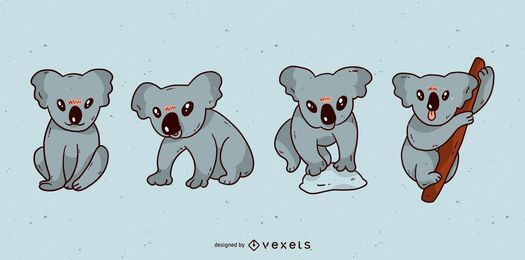 Conjunto de dibujos animados lindo koala