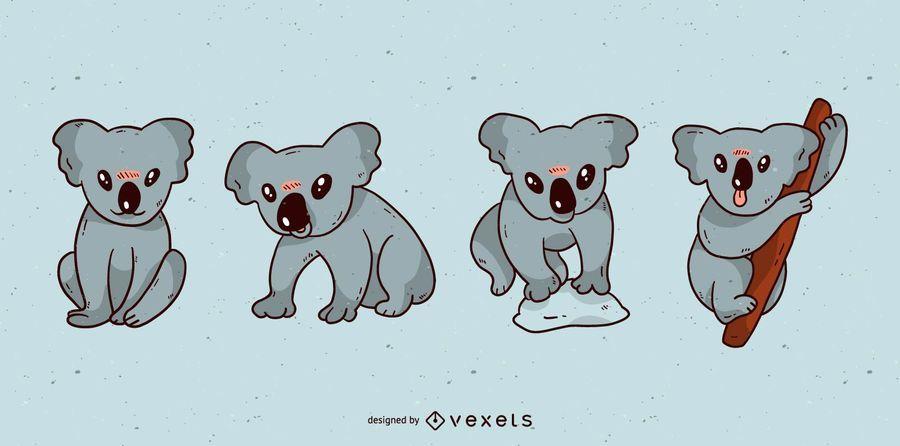 Cute koala cartoon set