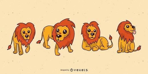 Conjunto de desenhos animados de leão fofo