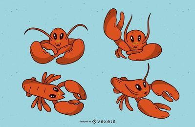 Cute lobster cartoon set