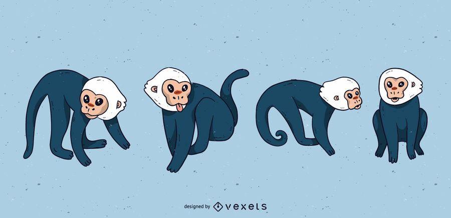 Cute capuchin monkey cartoon set