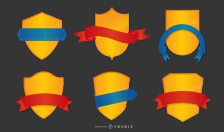 Ribbon and Shield Vector Set