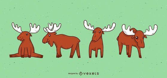 Conjunto de desenhos animados de alce bonito