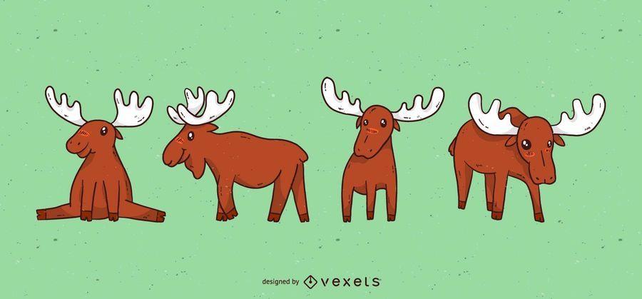 Cute moose cartoon set