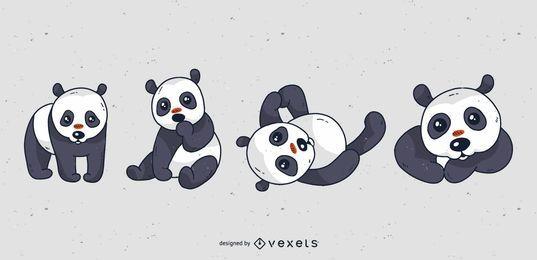 Netter Panda-Karikatursatz