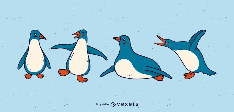 Cute penguin cartoon set