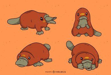 Conjunto de dibujos animados lindo ornitorrinco