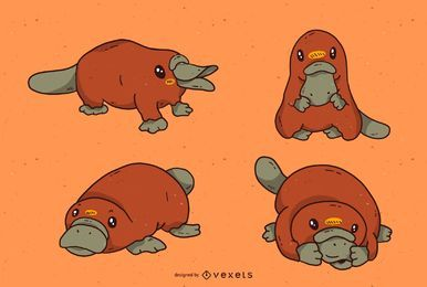 Cute platypus cartoon set
