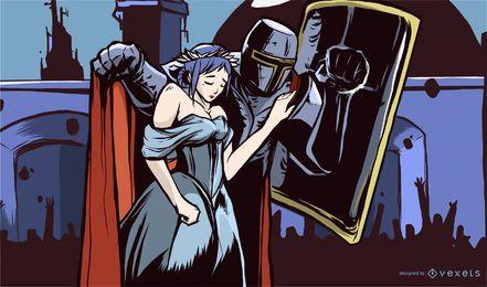 Diseño de ilustración de caballero y princesa