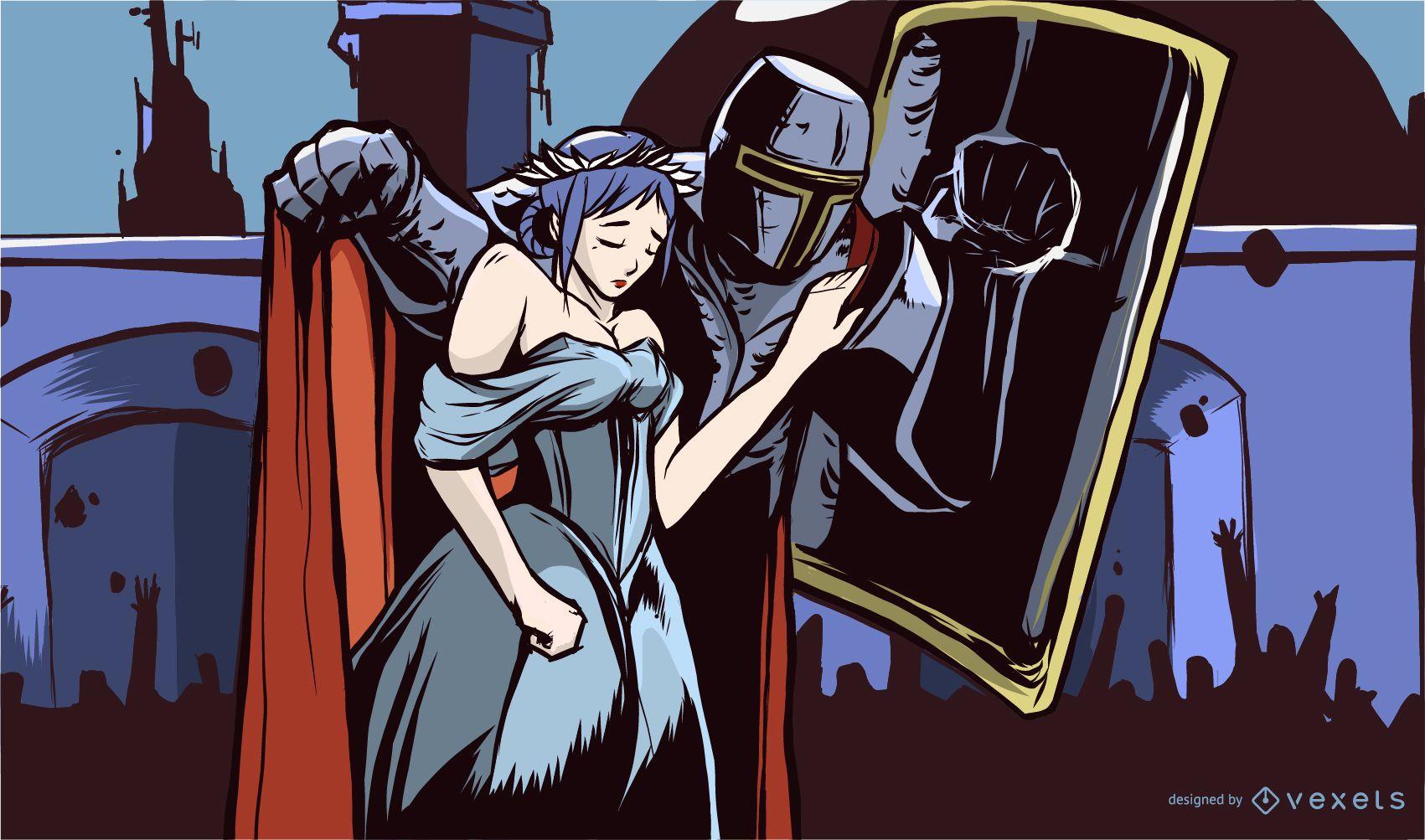 Knight and Princess Illustration Design