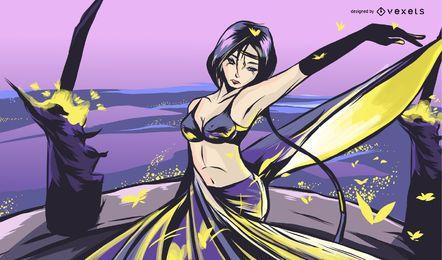 Anime mulher na ilustração roxa