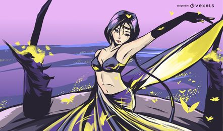 Anime Woman in Purple Illustration