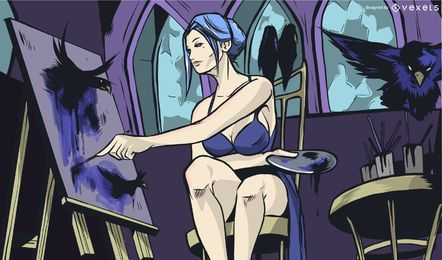 Mulher, pintor, ilustração, desenho