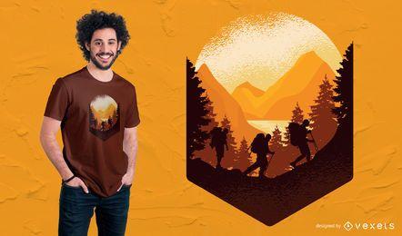 Senderismo al aire libre diseño de camiseta