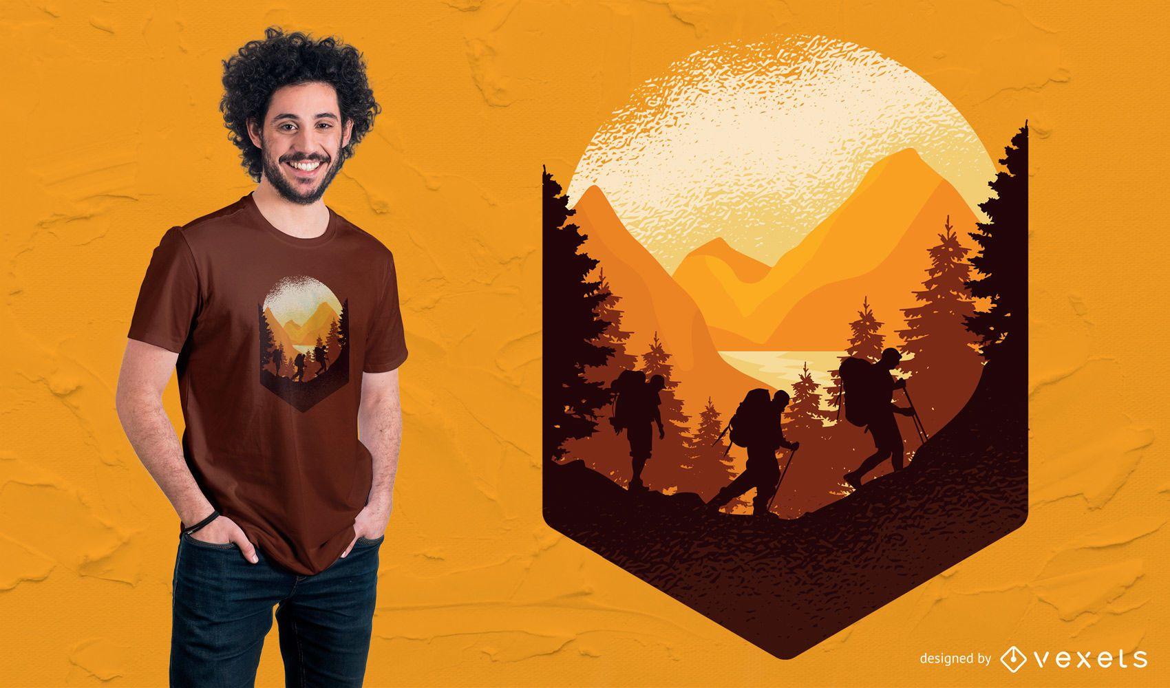 Design de camisetas para caminhadas ao ar livre