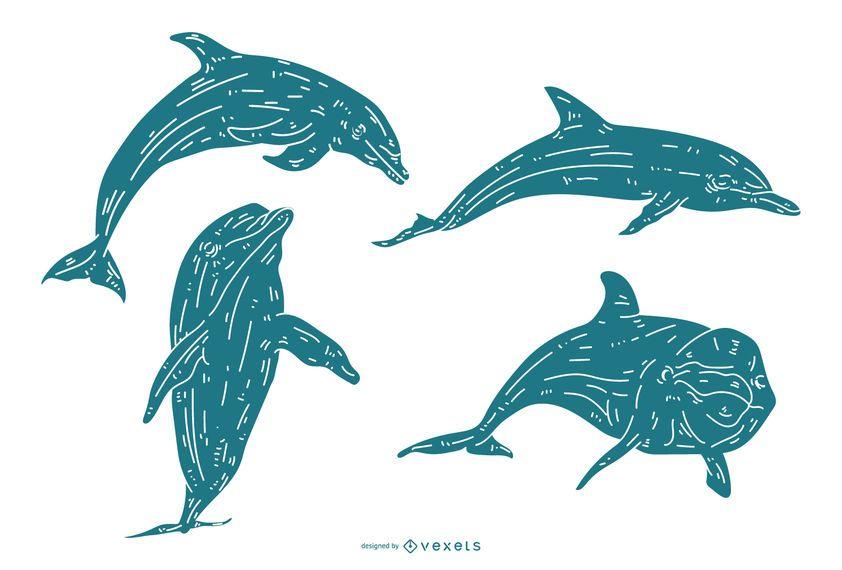 Conjunto detalhado de silhueta de golfinho