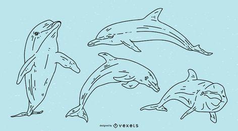 Conjunto de ilustração de traçado de golfinho