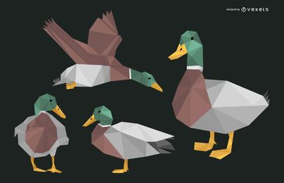 Conjunto de desenho poligonal de pato
