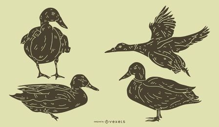 Detaillierte Duck Silhouette Set