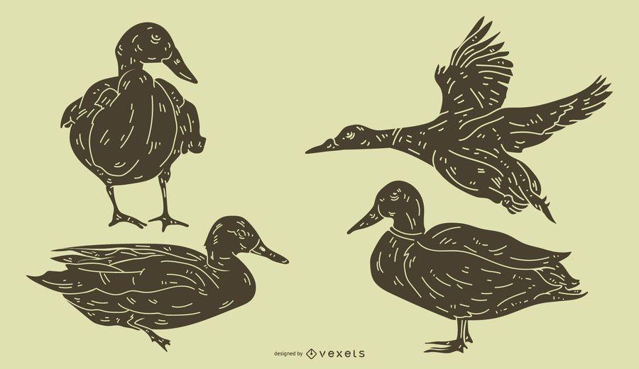Conjunto detalhado de silhueta de pato