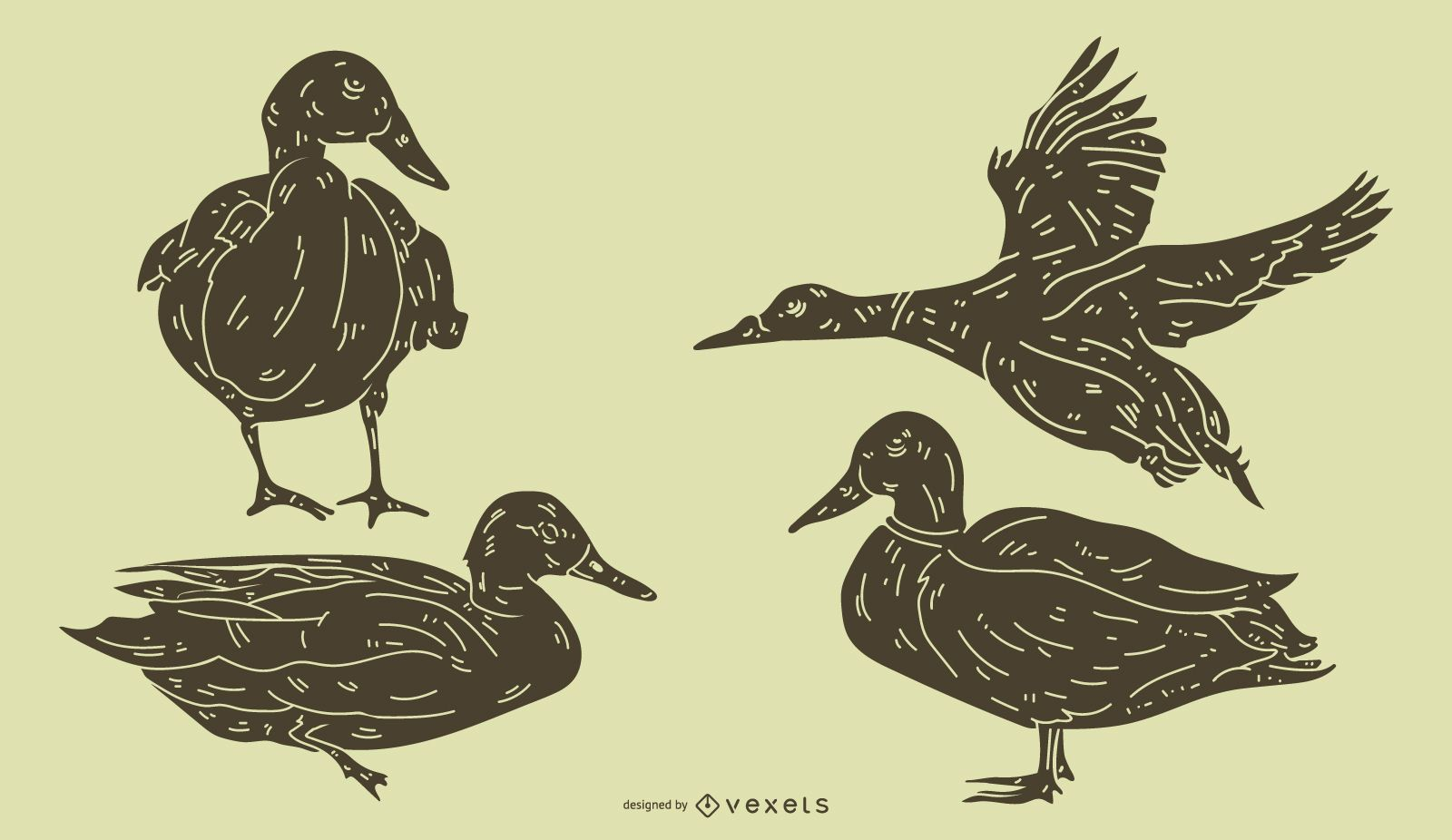 Detailed Duck Silhouette Set