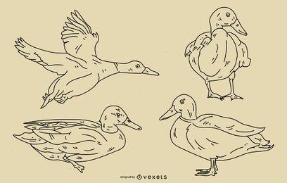 Conjunto de estilo de trazo de pato